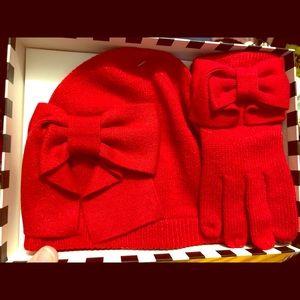 🎄 Kate Spade Red Hat & Glove Set NIB Gift Set NEW
